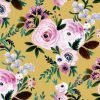 Victoria vintage floral mustard  100x100 - Woodland Story Book Custom Fit or Universal Pram Liner - Made to order (Premium Fabric)